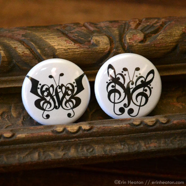 Butterfly Music Note Pinback Buttons or Magnets