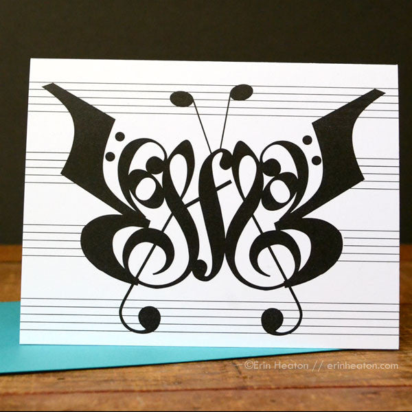 Butterfly Music Note Greeting Card | erinheaton.com