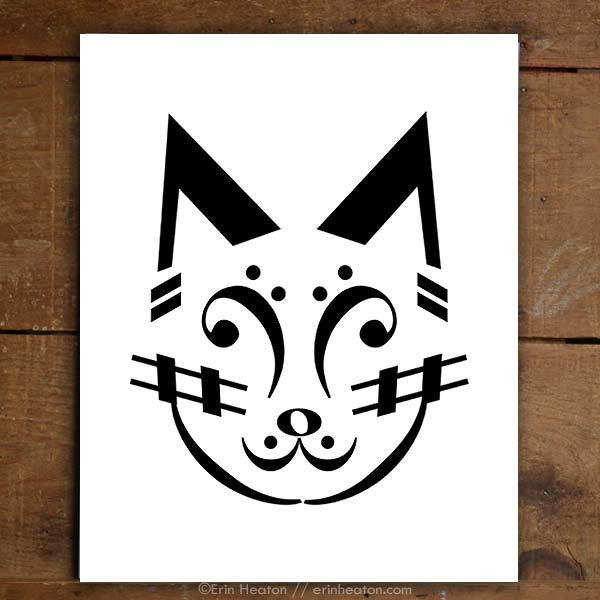 Cat Music Note Art Print Set | erinheaton.com