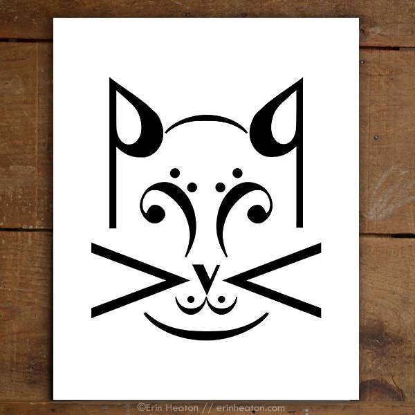 Cat Music Note Art Print Set