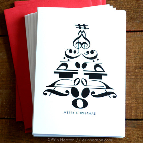 Christmas Tree Music Note Greeting Card | erinheaton.com