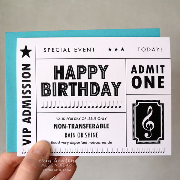 Concert Ticket Birthday Card | erinheaton.com