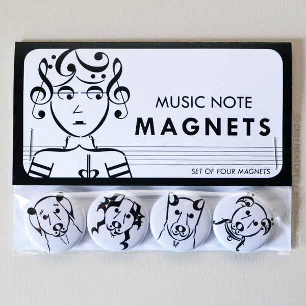 Dog Music Note Buttons or Magnets | erinheaton.com