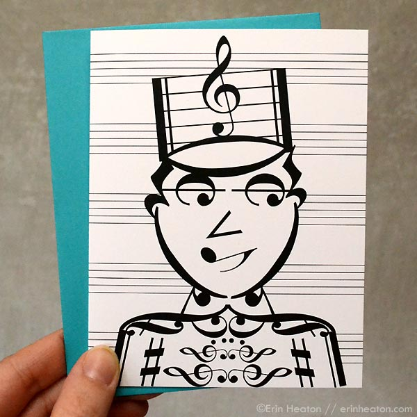 Drum Major / Marching Band Music Note Card | erinheaton.com