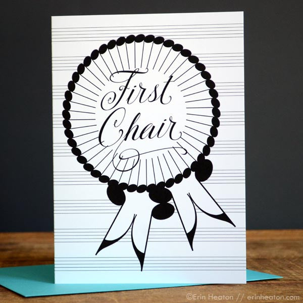 First Chair Award Ribbon Music Note Card
