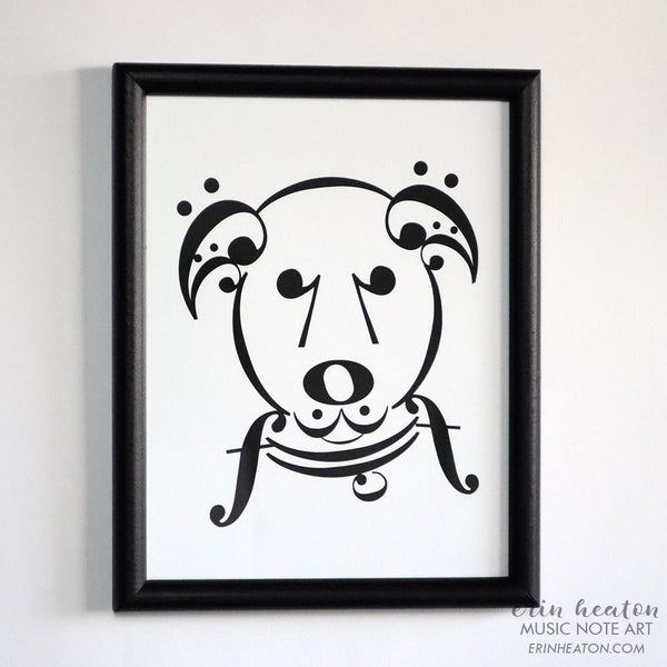 Framed Music Note Uke Dog Print