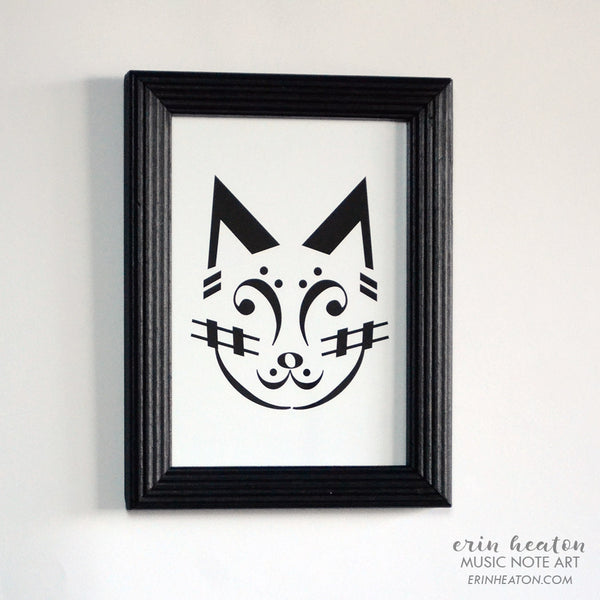 Framed Music Note Cat #2 Print