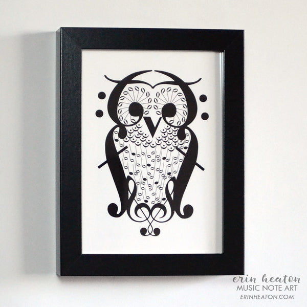 Framed Music Note Owl Print