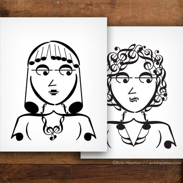 Girl Band Series: Tempo & Harmony Music Note Art Print Set | erinheaton.com
