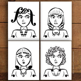 Girl Band Series: Music Note Art Prints – Set of 4