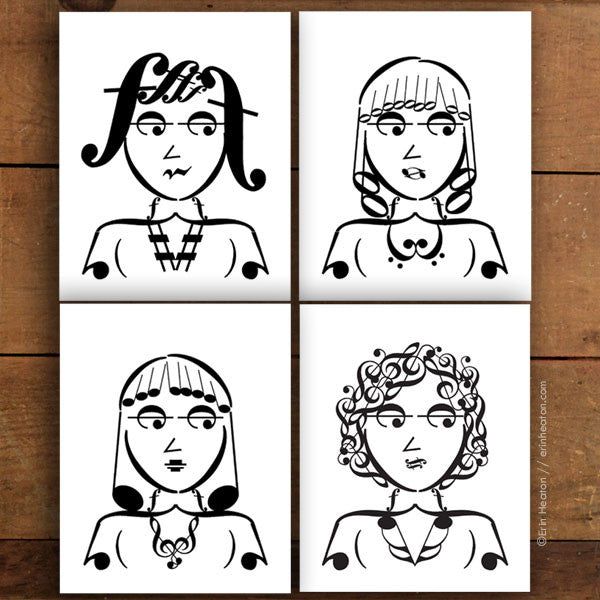 Girl Band Series: Music Note Art Prints – Set of 4 | erinheaton.com