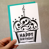 Music Cupcake Birthday Card