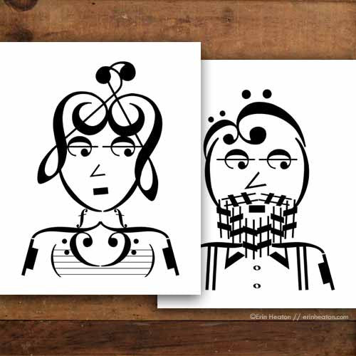 Indie Series: Foxy Lady/Bearded Guy Music Note Art Print Set | erinheaton.com
