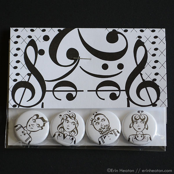 Indie Series Music Note Pinback Buttons or Magnets