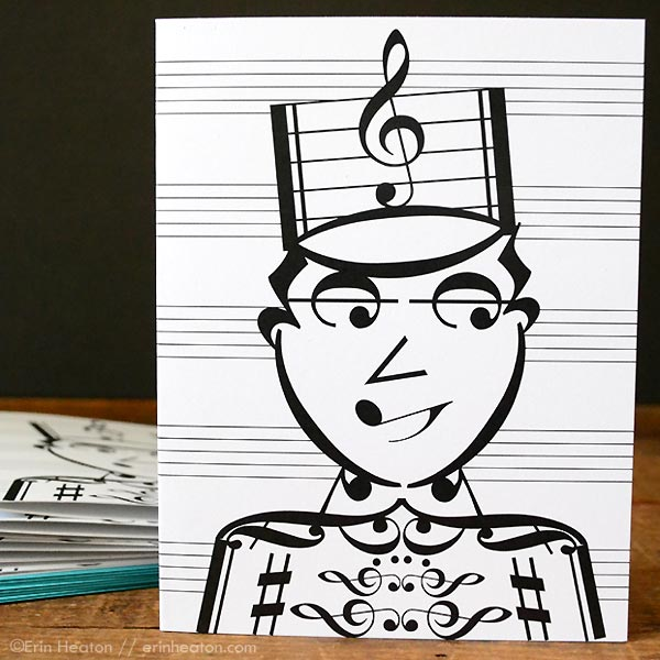 Drum Major / Marching Band Music Note Card