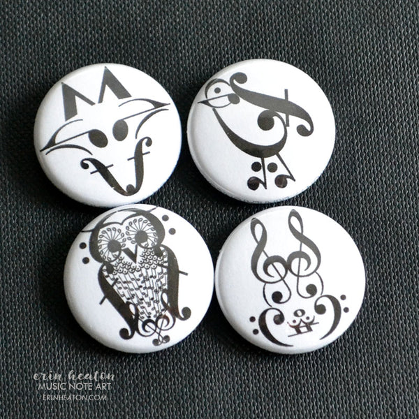 Animal Music Note Buttons or Magnets | erinheaton.com