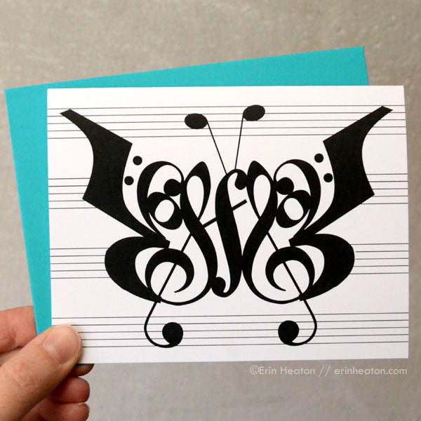 Butterfly Music Note Cards – Set of 8 | erinheaton.com