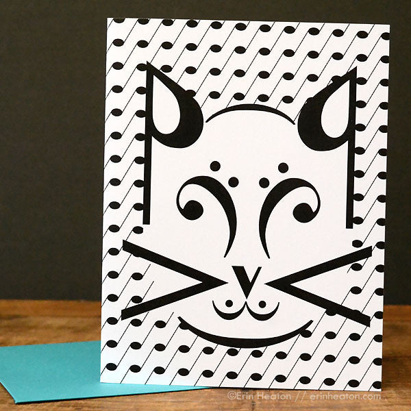 Cat Music Note Greeting Card