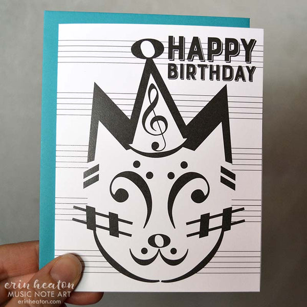 Party Cat Music Note Birthday Card | erinheaton.com