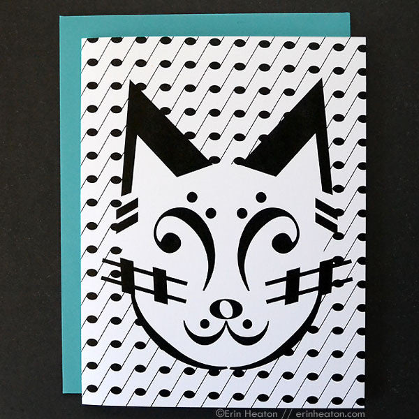 Cat Music Note Greeting Card | erinheaton.com