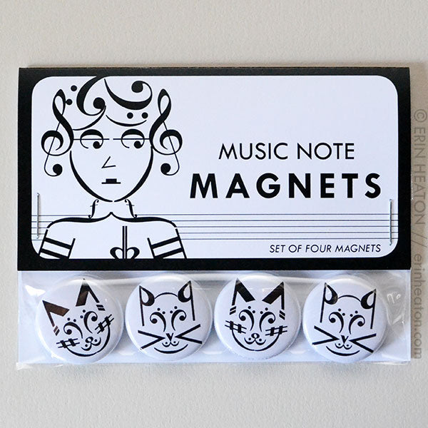 Cat Music Note Pinback Buttons or Magnets