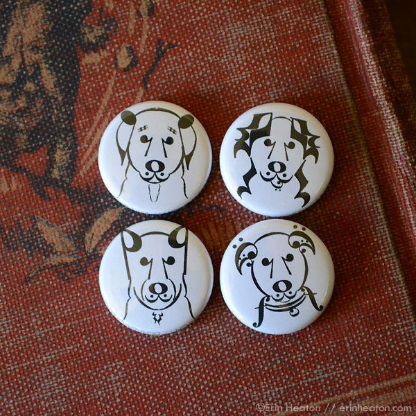 Dog Music Note Pinback Buttons or Magnets