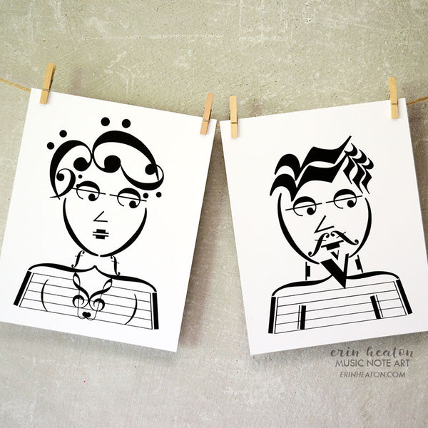 Beatnik Couple Music Art Print Set | erinheaton.com