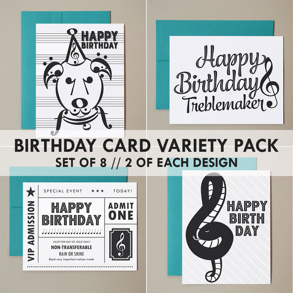 Music Note Birthday Card Variety Pack – Set of 8