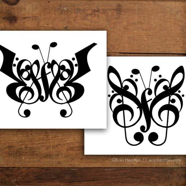 Butterfly Music Note Art Print Set | erinheaton.com