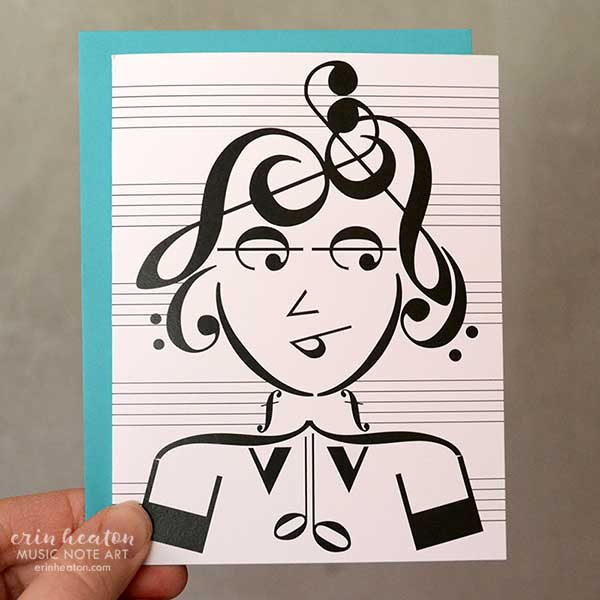 Cool Girl Music Note Greeting Card | erinheaton.com