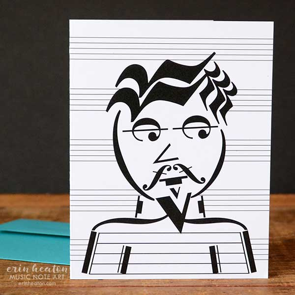 Beatnik Music Note Greeting Card