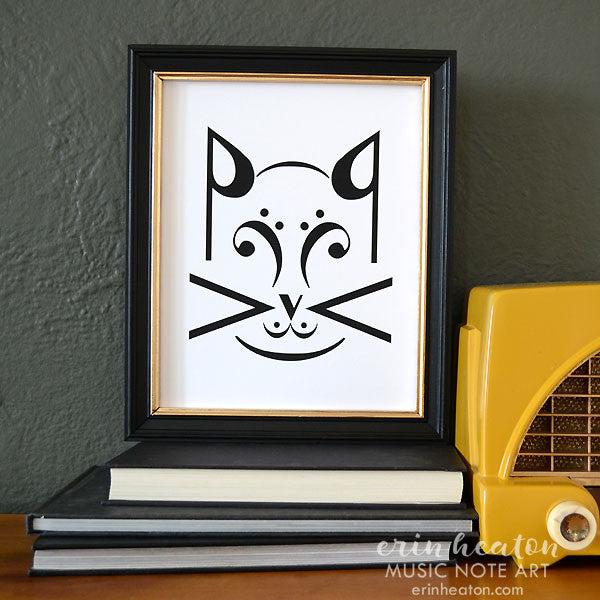 Cat Music Art Print