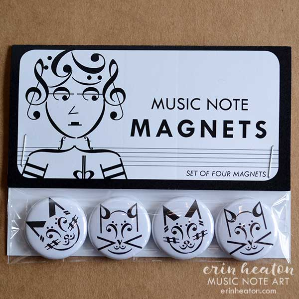 Set of Cat Music Note magnets | erinheaton.com