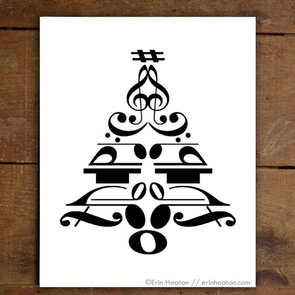 Christmas Tree Music Note Art Print