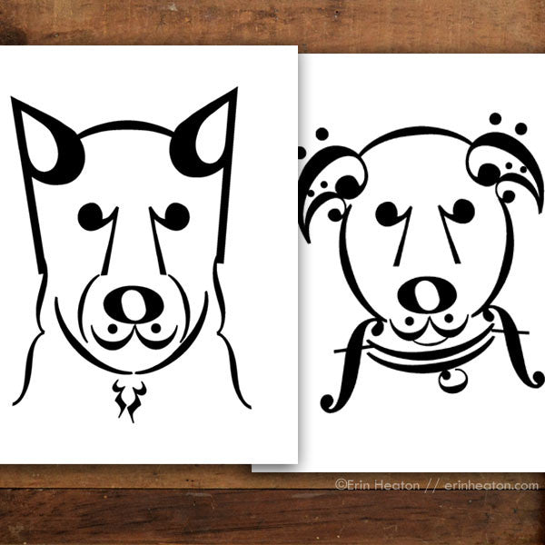"Dog Series: ""Coda"" & ""Uke"" Music Note Art Print Set"