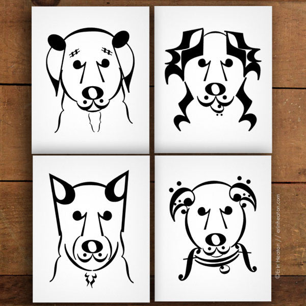 Dog Series: Music Note Art Prints - Set of 4 | erinheaton.com