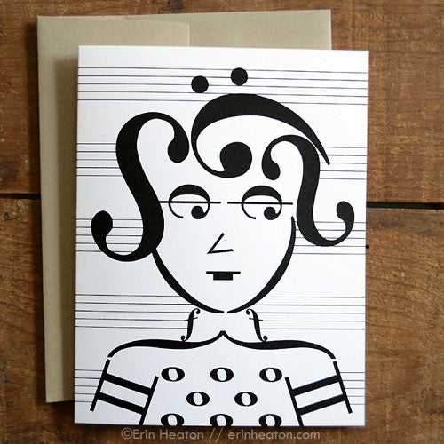 Guitarist: Rocker Music Note Greeting Card | erinheaton.com