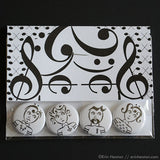 Rocker Series Music Note Pinback Buttons or Magnets
