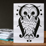 Owl Music Note Card | erinheaton.com
