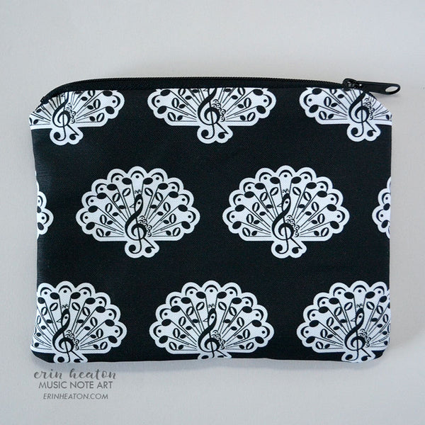 Music Note Peacock Zippered Pouch | erinheaton.com