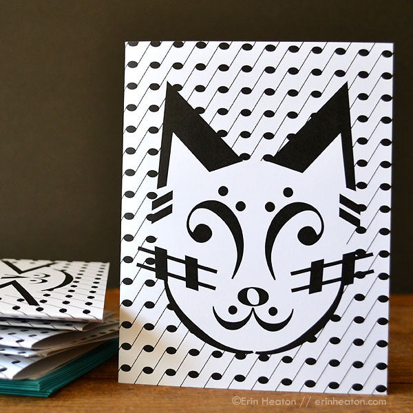 Cat Music Note Cards – Set of 8 | erinheaton.com