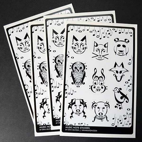 Music Note Animal Sticker Sheets - Classroom Pack