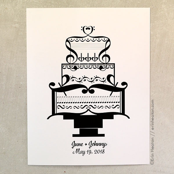 Personalized Wedding Cake Music Art Print