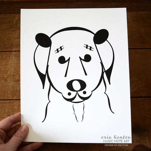 "Dog Series: ""Belle"" Music Note Art Print 