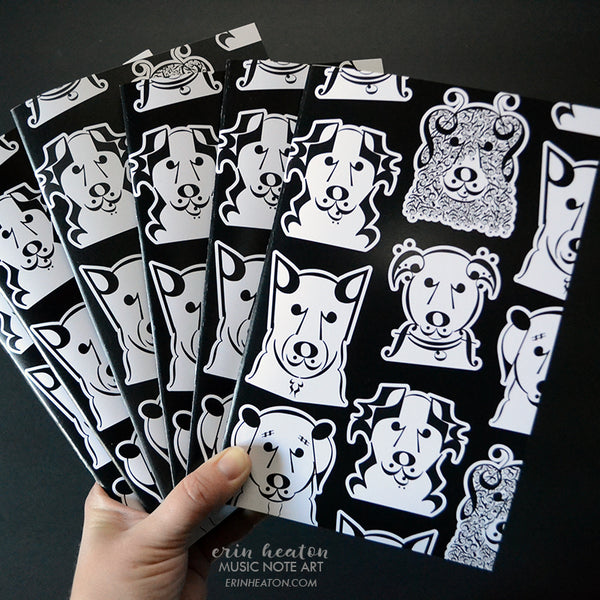 Music Notebooks – Dogs or Owls - Set of 12 | erinheaton.com