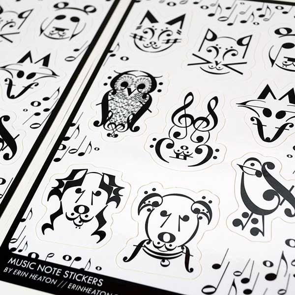 Music Note Animal Sticker Sheets | erinheaton.com