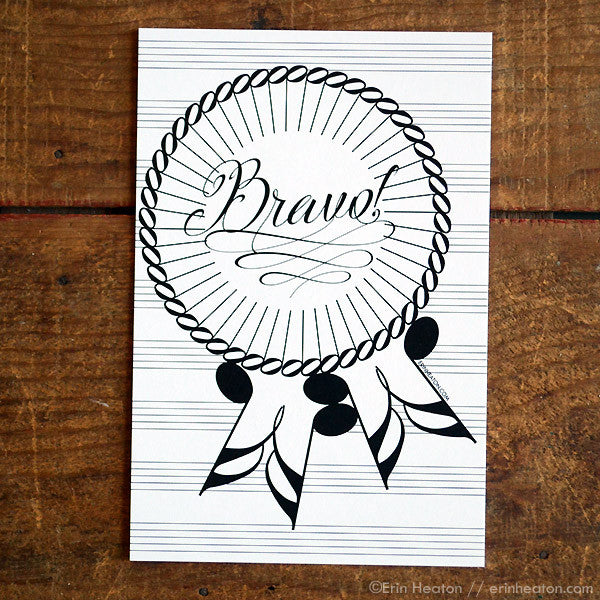 Bravo Award Ribbon Music Note Postcard