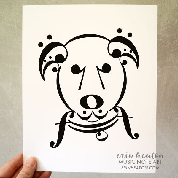"Dog Series: ""Uke"" Music Note Art Print 