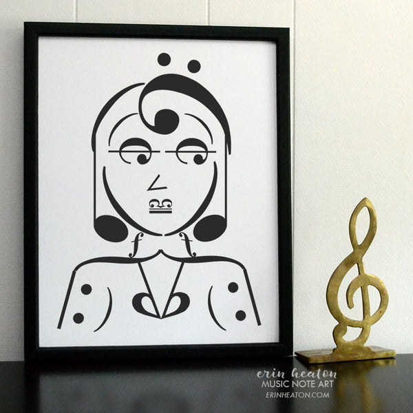 Chic Woman Music Note Art Print | erinheaton.com