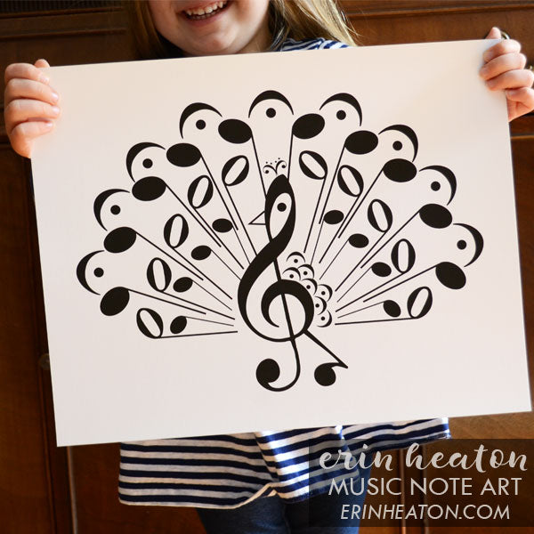Peacock Music Note Art Print | erinheaton.com